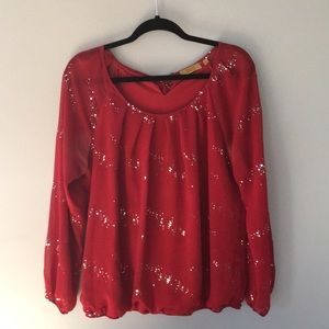 Sparkly red blouse, great for the holidays!